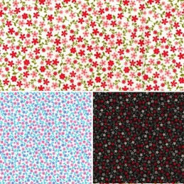 100% Cotton Poplin Fabric Rose & Hubble Tiny Ditsy Floral Flower Heads