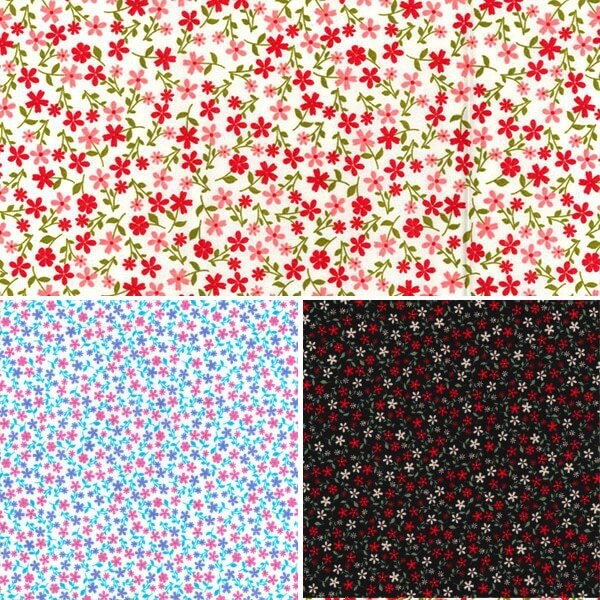 Blue 100% Cotton Poplin Fabric Rose & Hubble Tiny Ditsy Floral Flower Heads