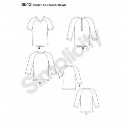Simplicity Sewing Pattern 8613 Men's Baseball Style T-Shirts
