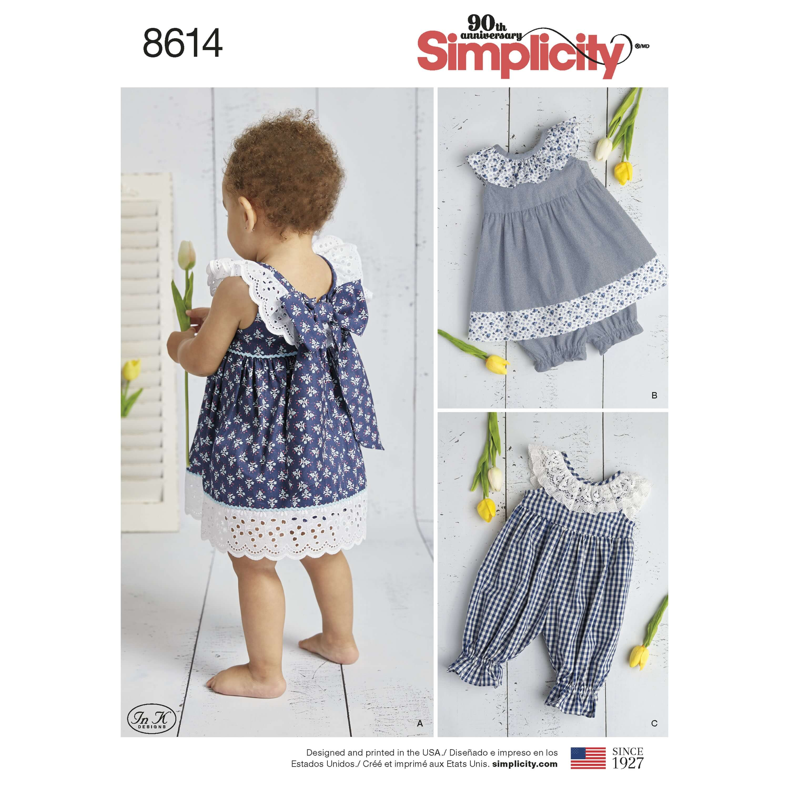 Simplicity Sewing Pattern 8614 Baby Dress Romper and Shorts