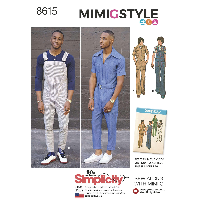 Simplicity Sewing Pattern 8615 Men's 1970s Vintage Jumpsuit Overalls