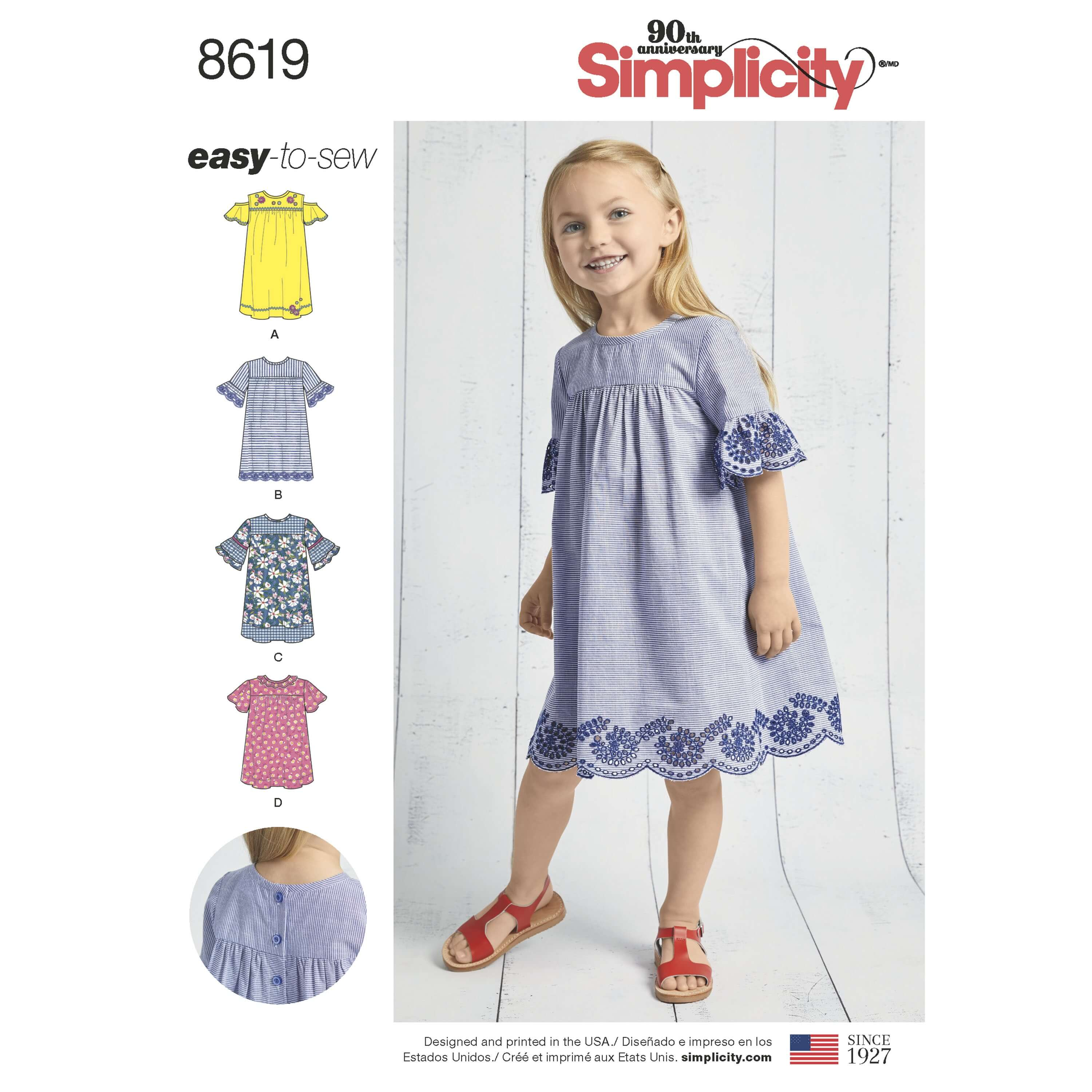 Simplicity Sewing Pattern 8619 Child's Easy to Sew Tunics and Dresses