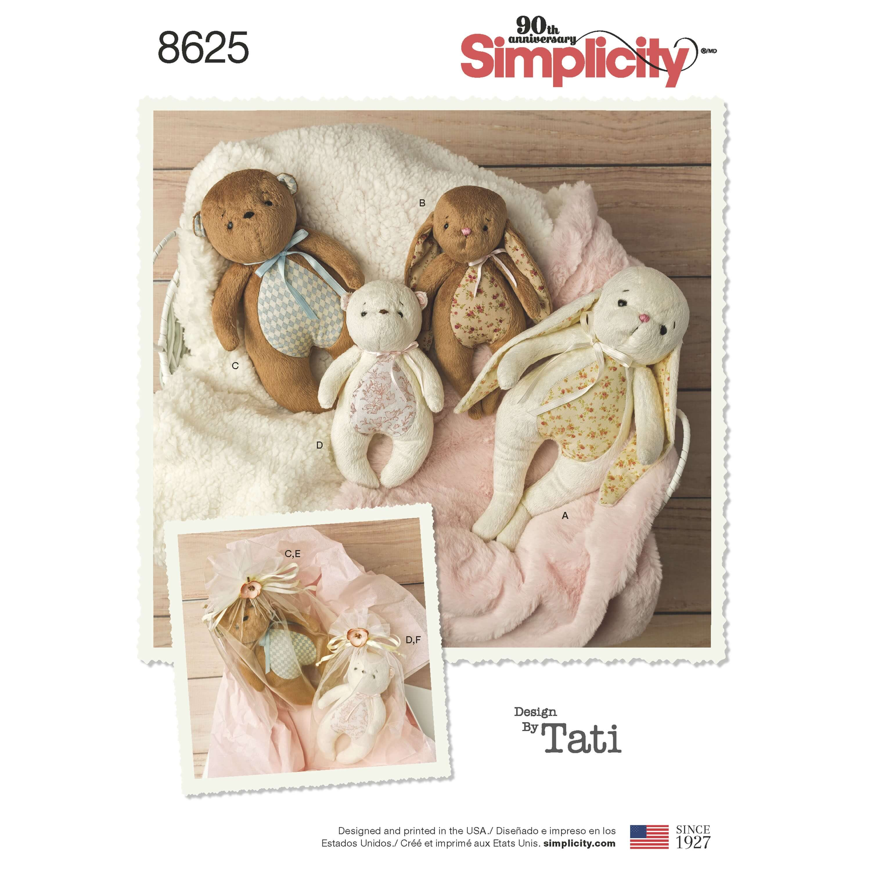 Simplicity Sewing Pattern 8625 Stuffed Toys and Gift Bags