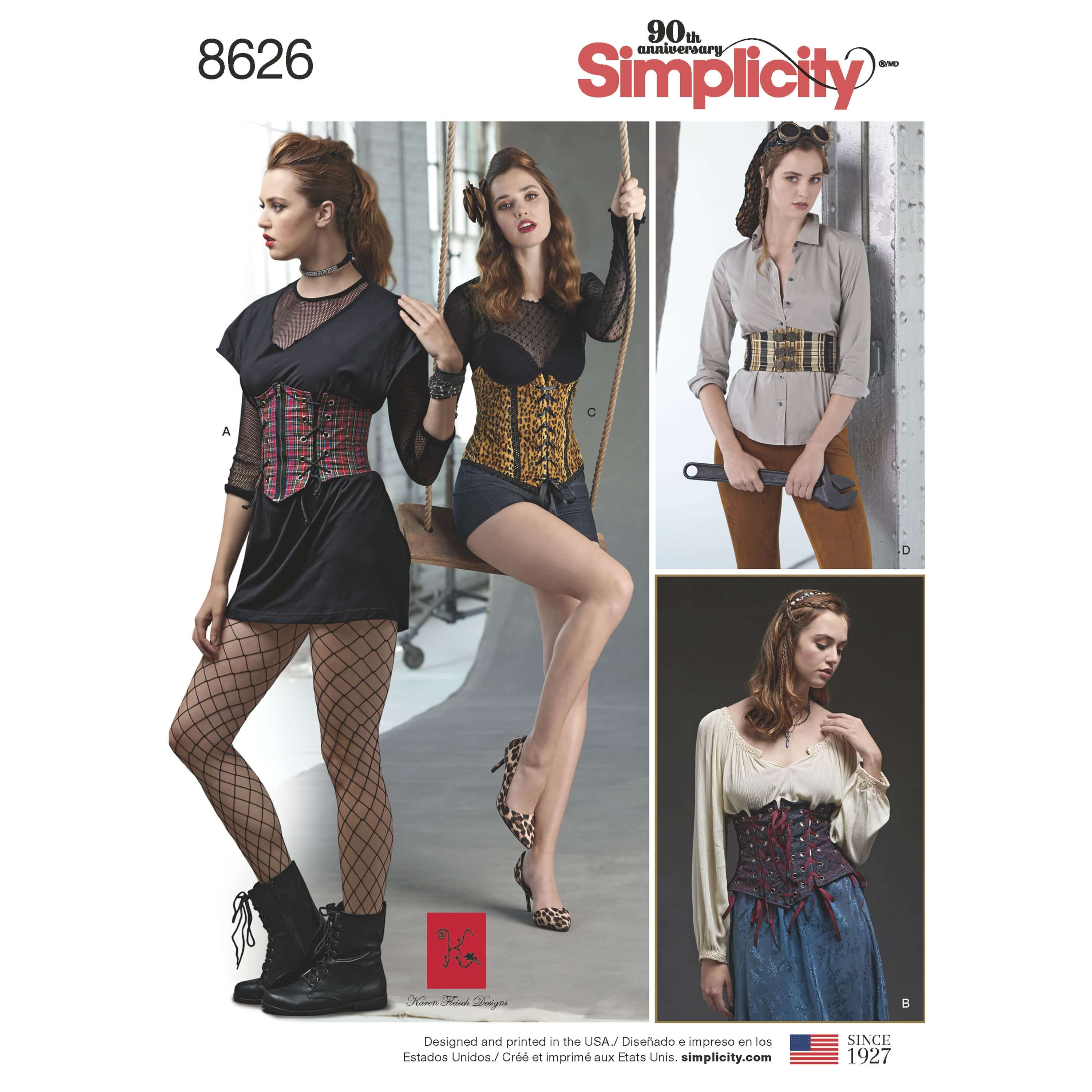 Simplicity Sewing Pattern 8626 Women's Cosplay Costume Corset Belts
