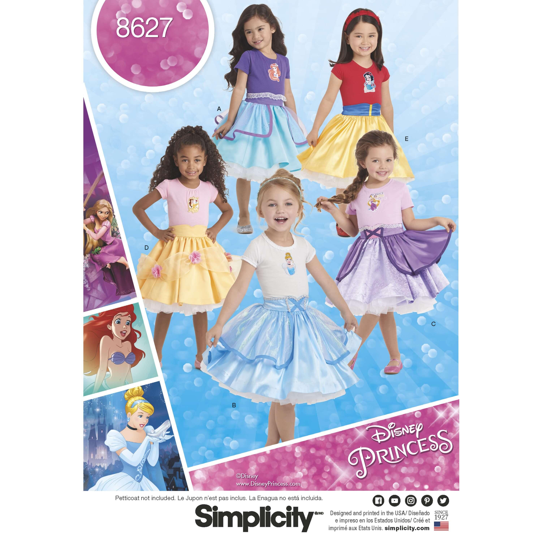 Simplicity Sewing Pattern 8627 Children's Disney Princess Dress Up Skirts