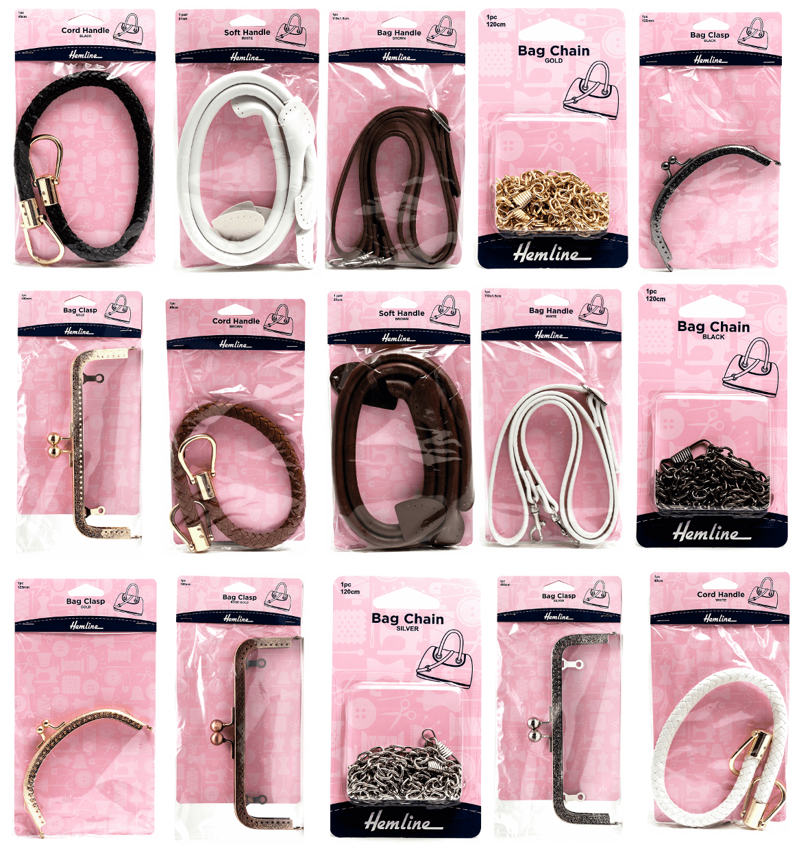 Hemline Clip On & Sew On Handbag Handle Cord Bag Accessories H4513_GD Bag Chain 120cm Gold