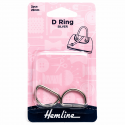 Hemline 2 x D Rings Gold Nickel Black Rose Gold Strap Adjuster Handbag Bag H4516.20.NK D Ring 20mm Nickel 2 Pieces