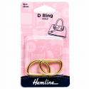 Hemline 2 x D Rings Gold Nickel Black Rose Gold Strap Adjuster Handbag Bag H4516.25.GD 25mm Gold 2 Pieces