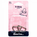 Hemline 2 x D Rings Gold Nickel Black Rose Gold Strap Adjuster Handbag Bag H4516.25.NK D Ring 25mm Nickel 2 Pieces