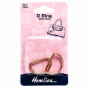 Hemline 2 x D Rings Gold Nickel Black Rose Gold Strap Adjuster Handbag Bag H4516.25.RG D Ring 25mm Rose Gold 2 Pieces