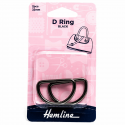 Hemline 2 x D Rings Gold Nickel Black Rose Gold Strap Adjuster Handbag Bag H4516.32.NB D Ring 32mm Nickel Black 2 Pieces