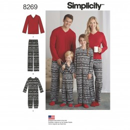 Simplicity Sewing Pattern 8269 Misses, Men & Child Loungewear and One Piece