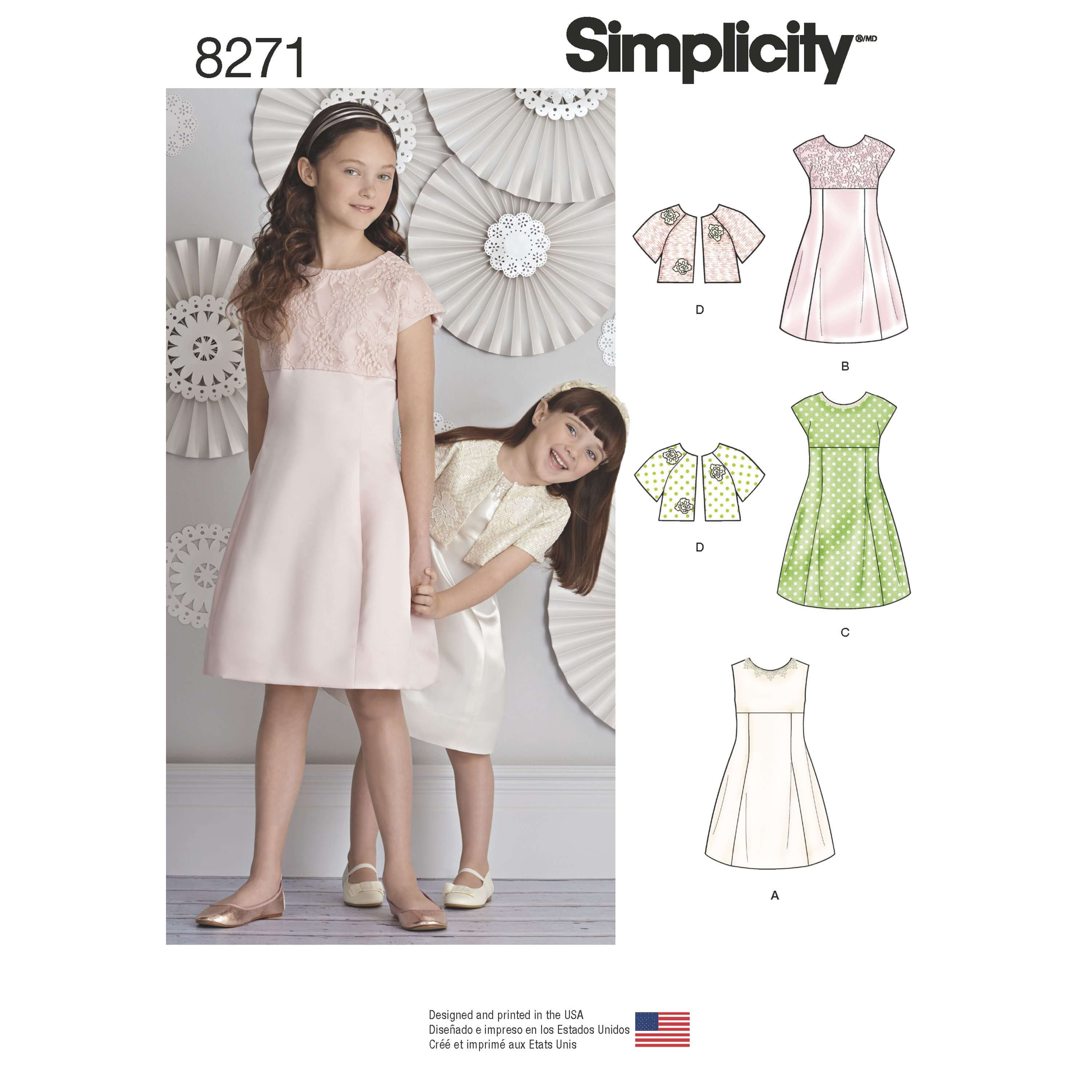 Simplicity Sewing Pattern 8271 Girl's Special Occasion Dress and Bolero Jacket