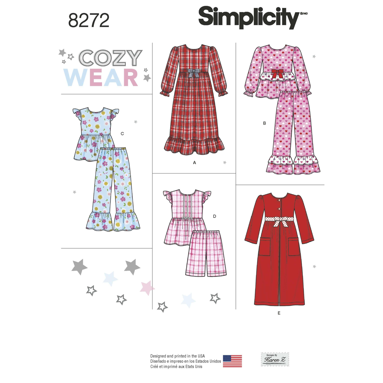 Simplicity Sewing Pattern 8272 Child's and Girls Pyjamas Nightwear