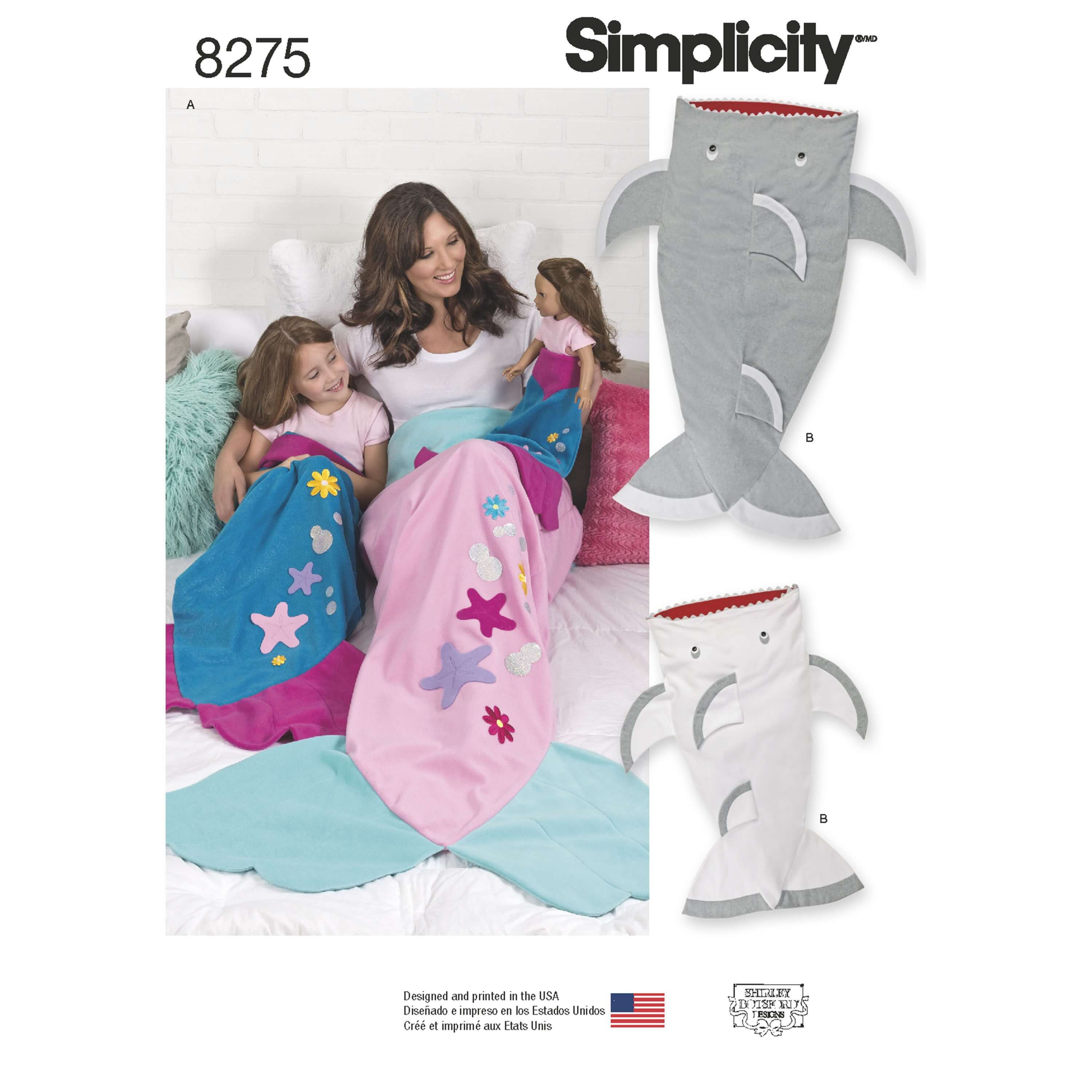 Simplicity Sewing Pattern 8275 Adult and Child Novelty Mermaid Shark Blankets