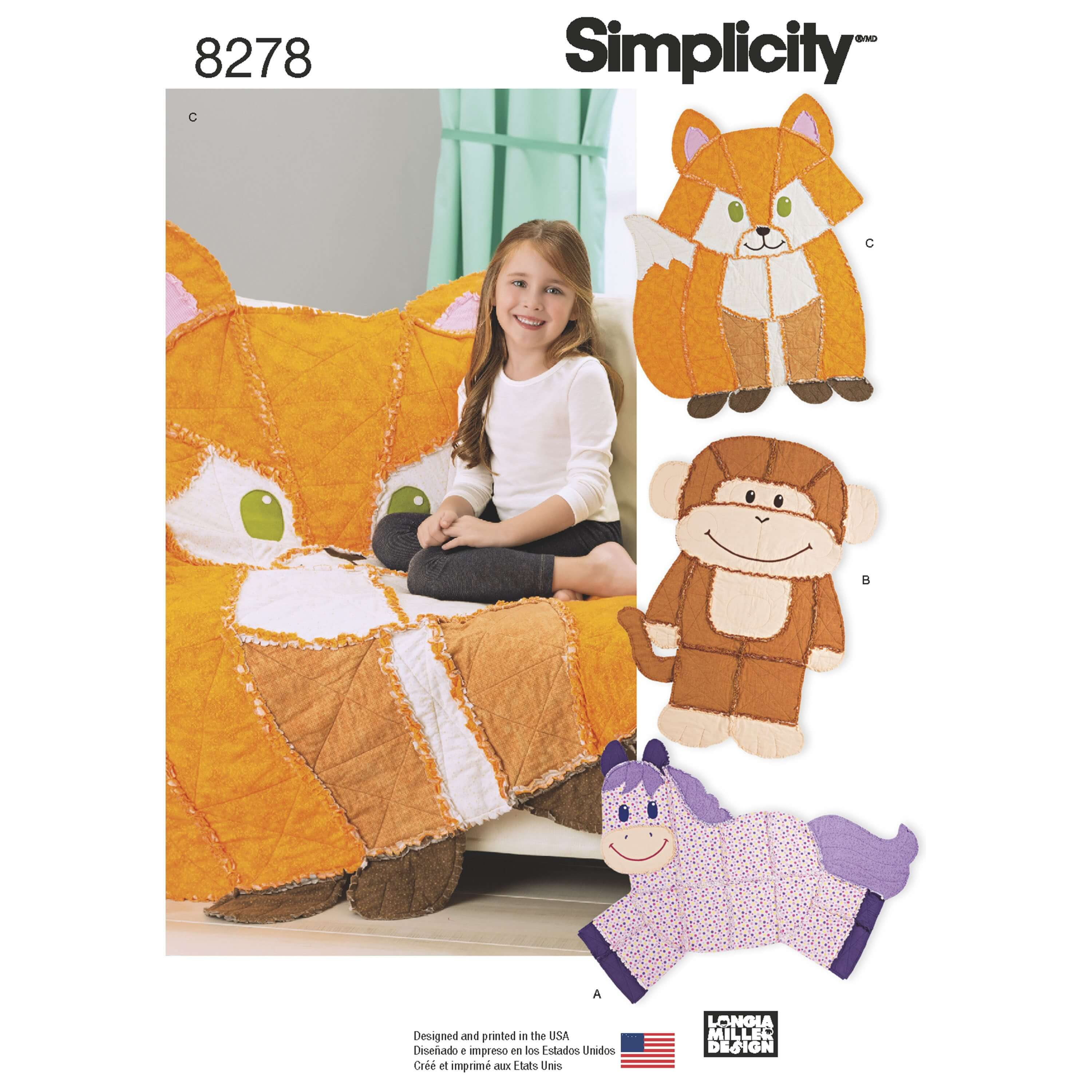 Simplicity Sewing Pattern 8278 Rag Animal Quilts Horse Monkey Fox