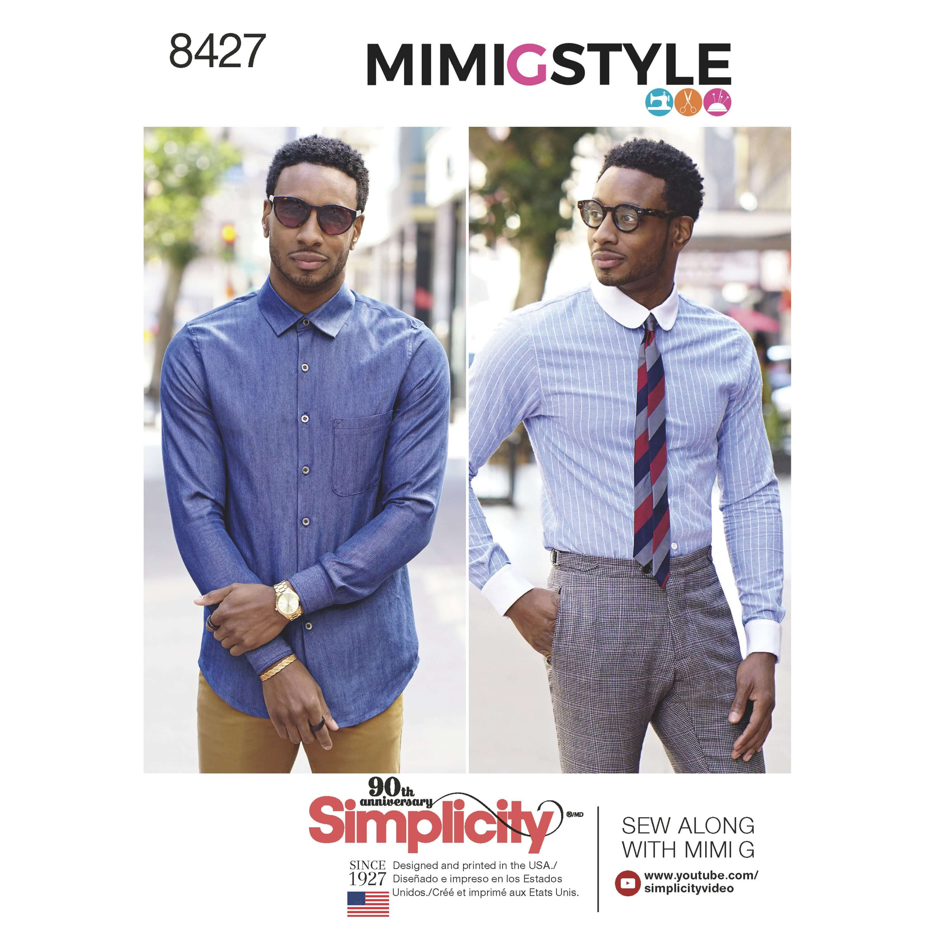Simplicity Sewing Pattern 8427 Men's Mimi G Fitted Shirts with Cuff Options