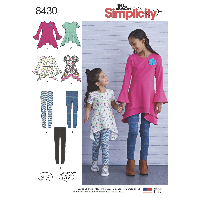 Simplicity Sewing Pattern 8430 Girls Knit Tunics and Leggings