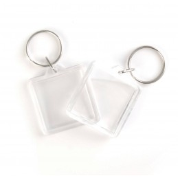 4cm x 4cm Clear Photo Plastic Personalise Badge With Key Ring