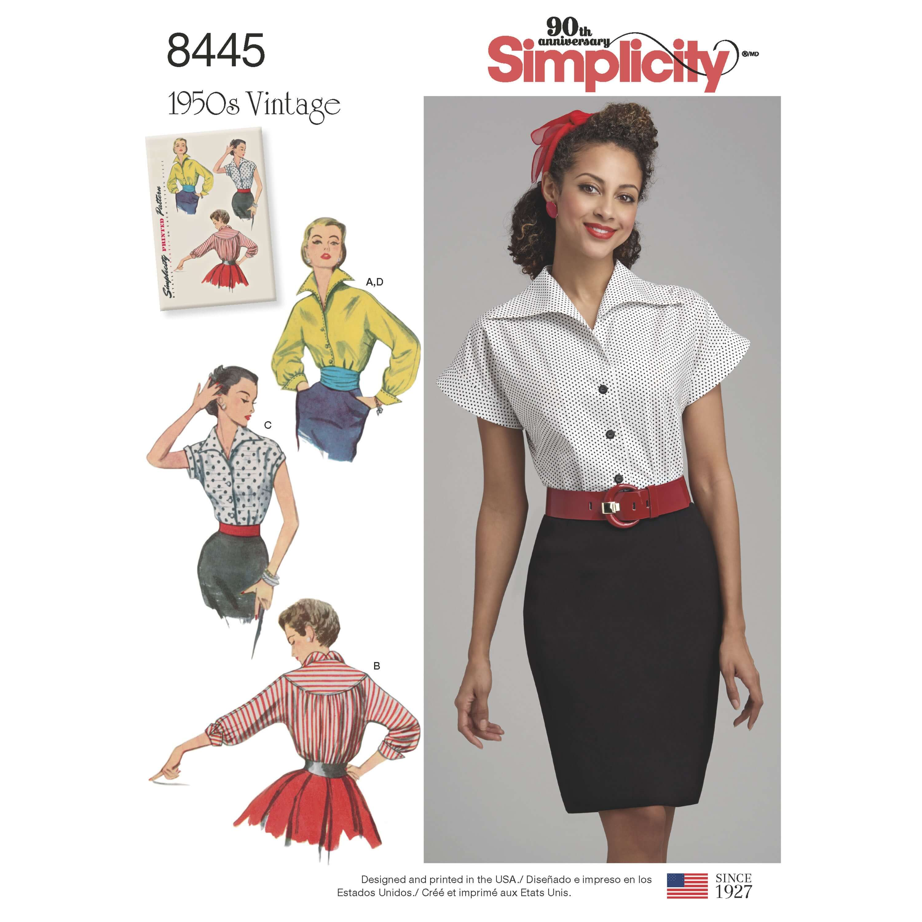 Simplicity Sewing Pattern 8445 Women's Vintage Blouse and Cummerbund Belt