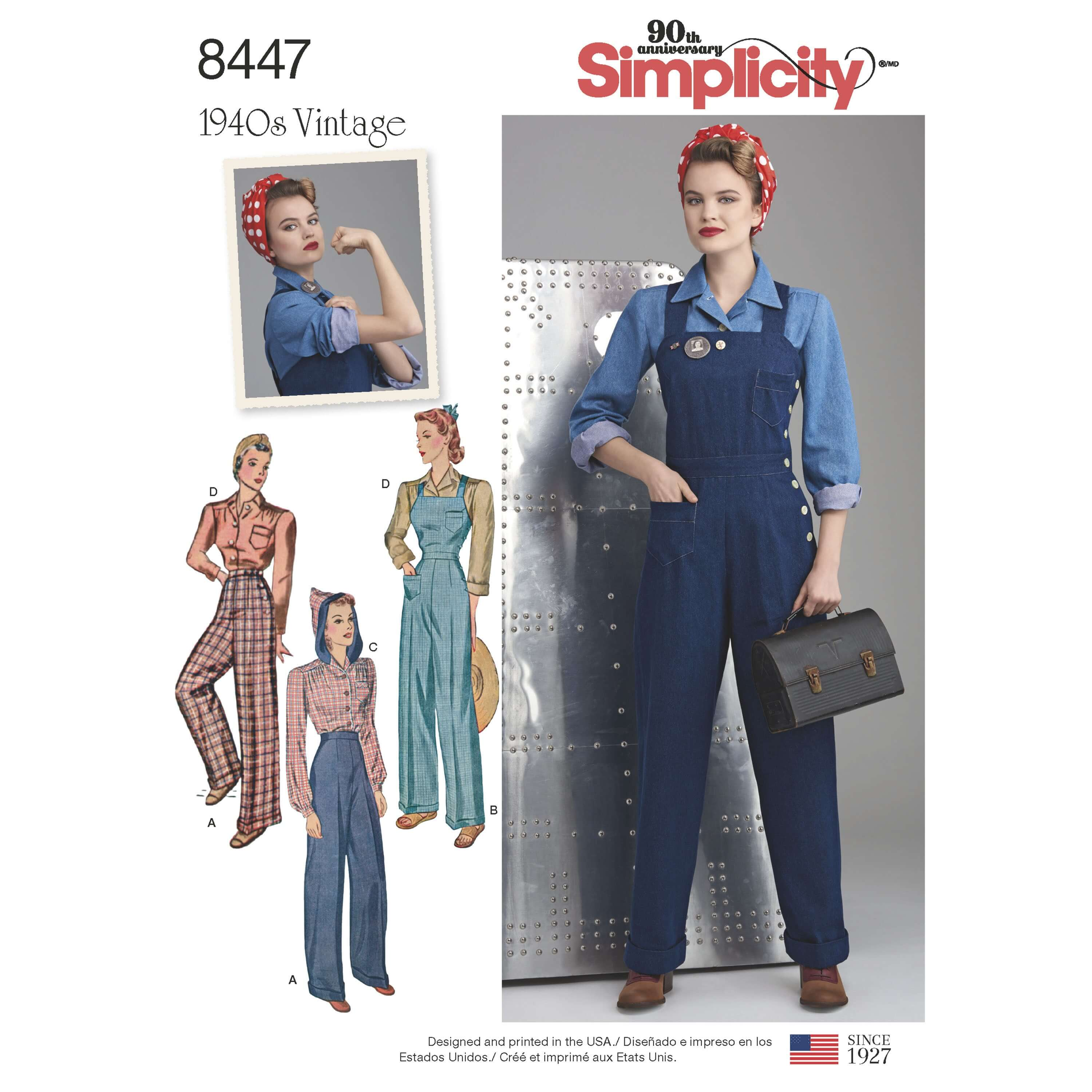 Simplicity Sewing Pattern 8447 Women's Vintage 1940s Overalls Trousers Blouses