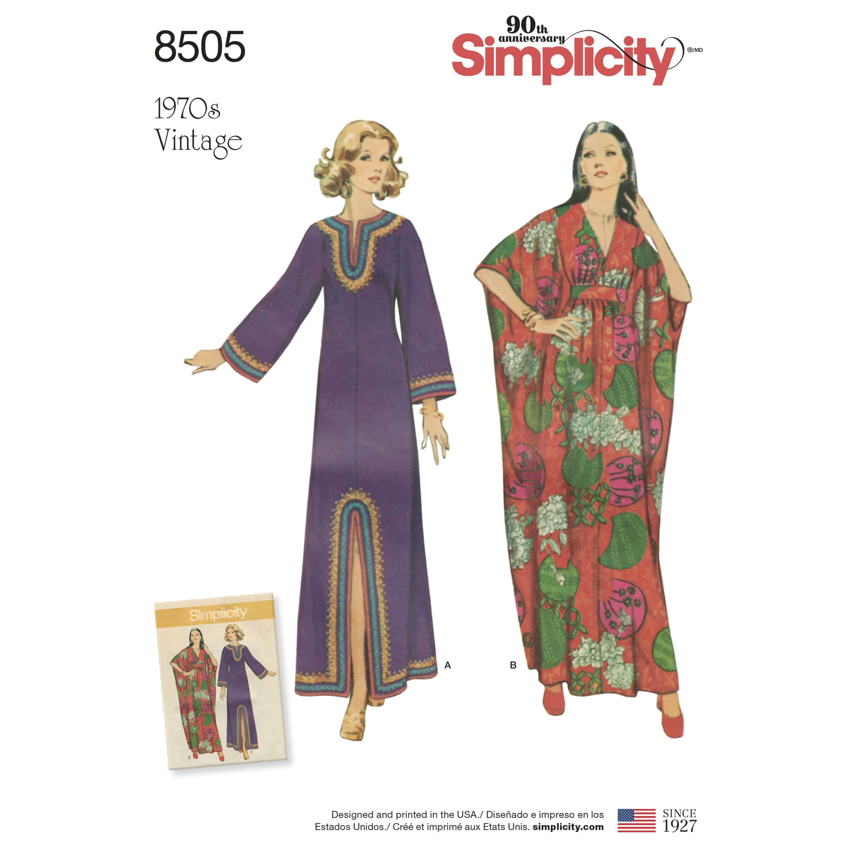 Simplicity Sewing Pattern 8505 Women's Vintage Kaftan Maxi Poncho Dress