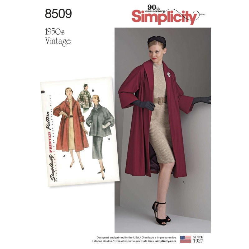 Simplicity Sewing Pattern 8509 Women's Vintage Jacket or Coat Shawl Collar