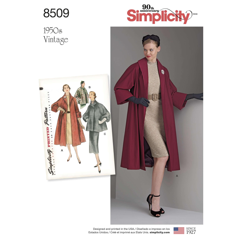 Simplicity Sewing Pattern 8509 Women's Vintage Jacket or Coat Shawl Collar