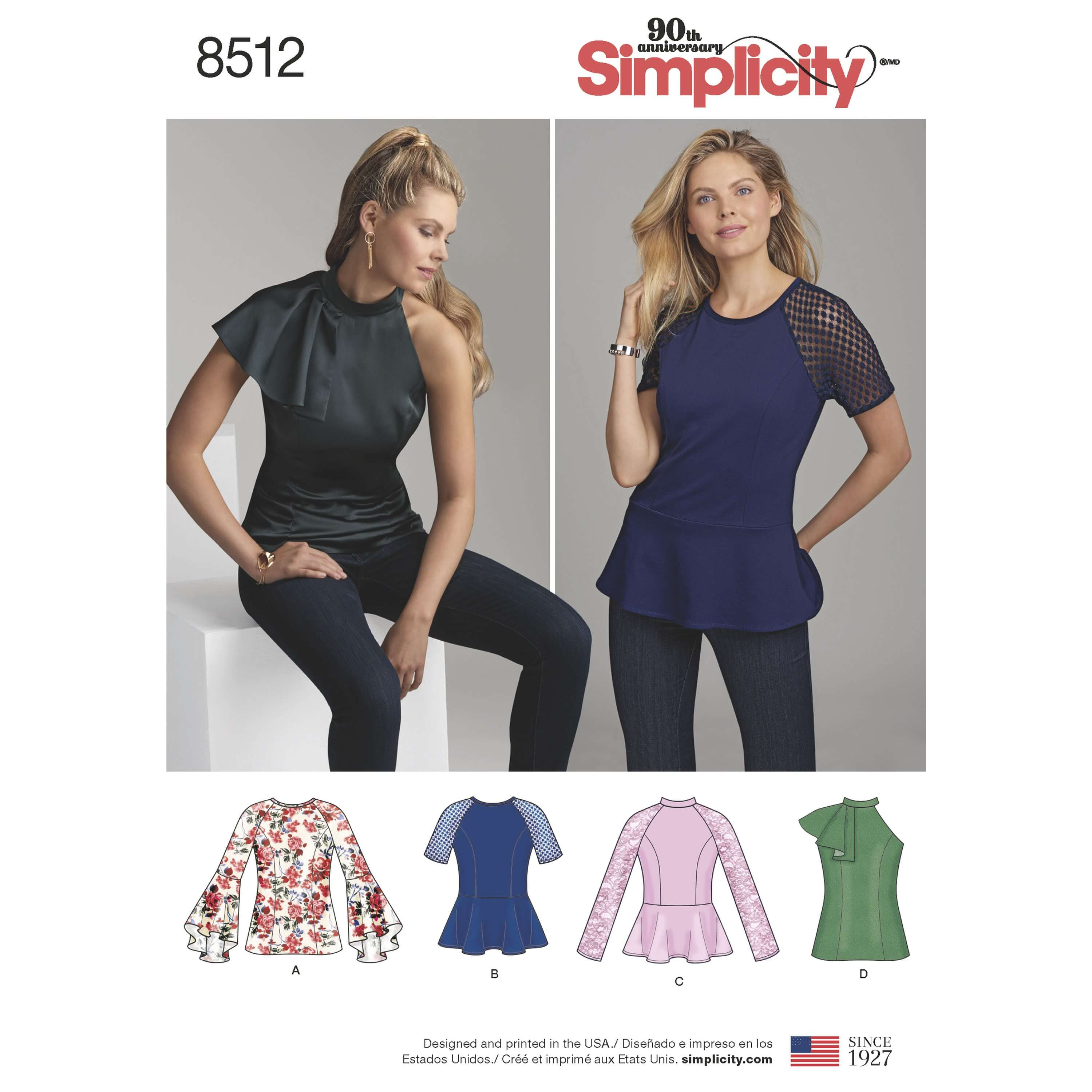 Simplicity Sewing Pattern 8512 Women's Peplum Top with Sleeve Options
