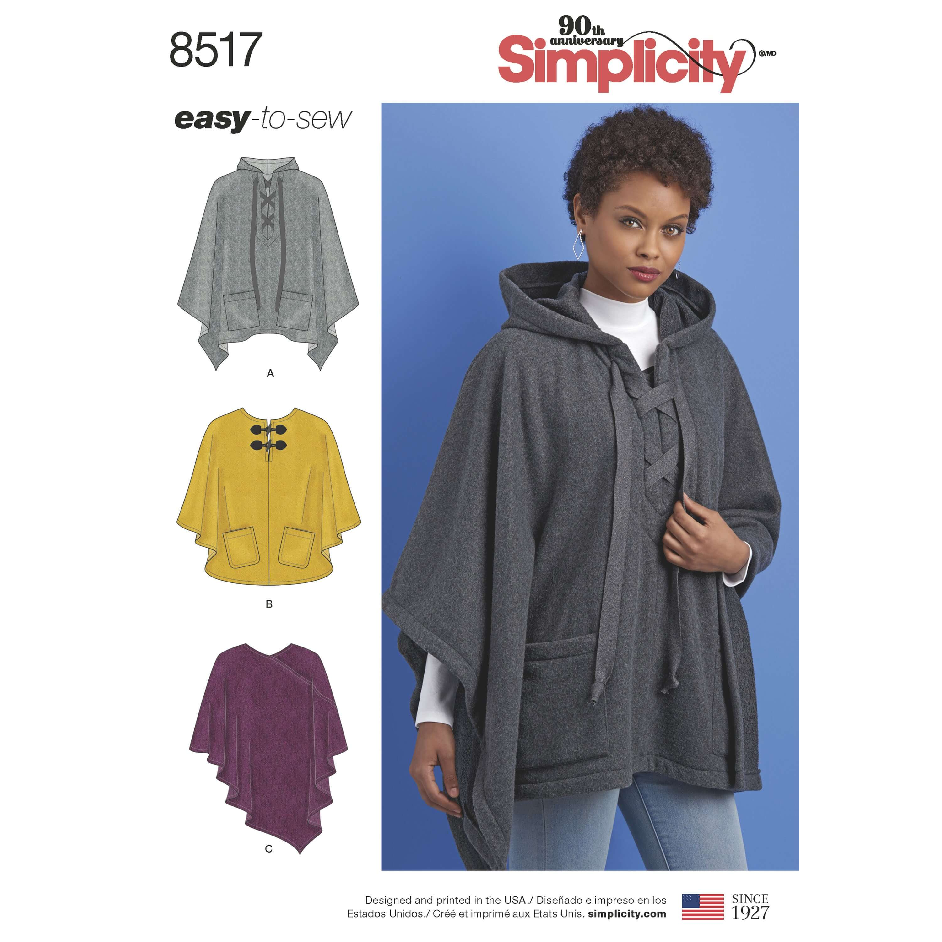 Simplicity Sewing Pattern 8517 Women's Set of Ponchos Easy to Sew