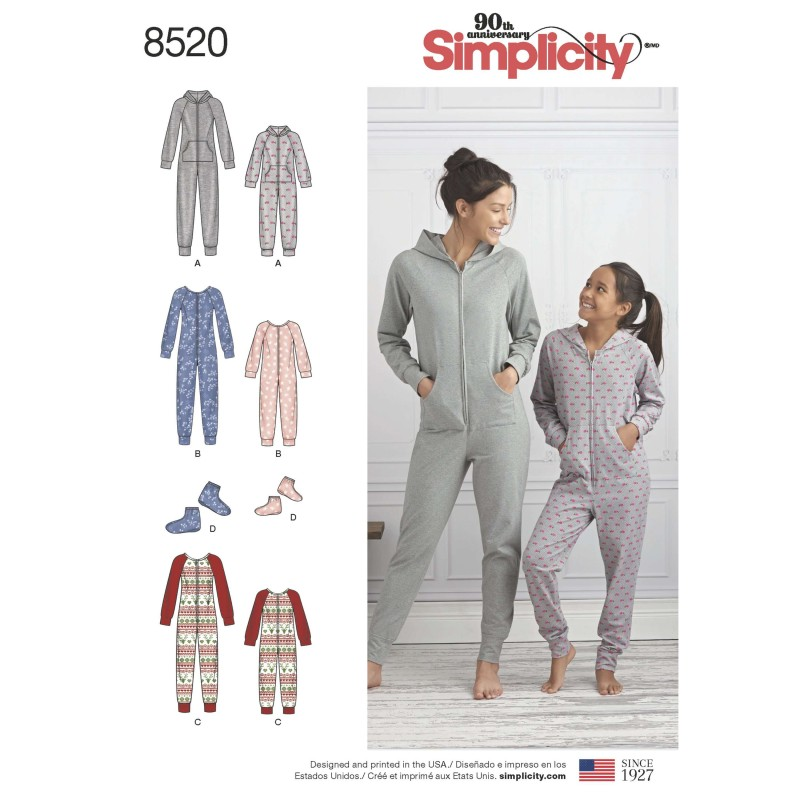 Simplicity Sewing Pattern 8520 Misses and Girls One Piece Jumpsuit Loungewear