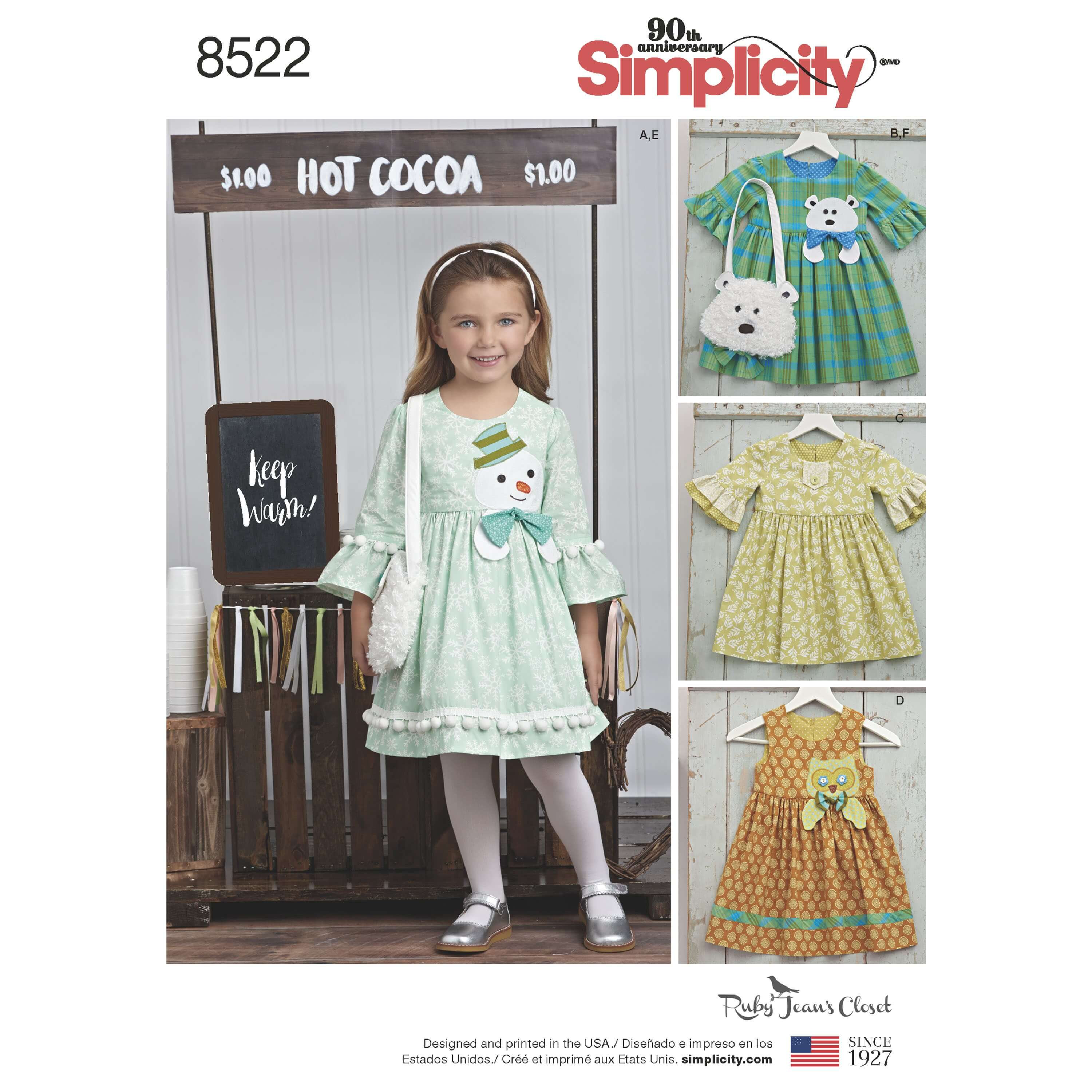 Simplicity Sewing Pattern 8522 Child's Dresses and Matching Purses