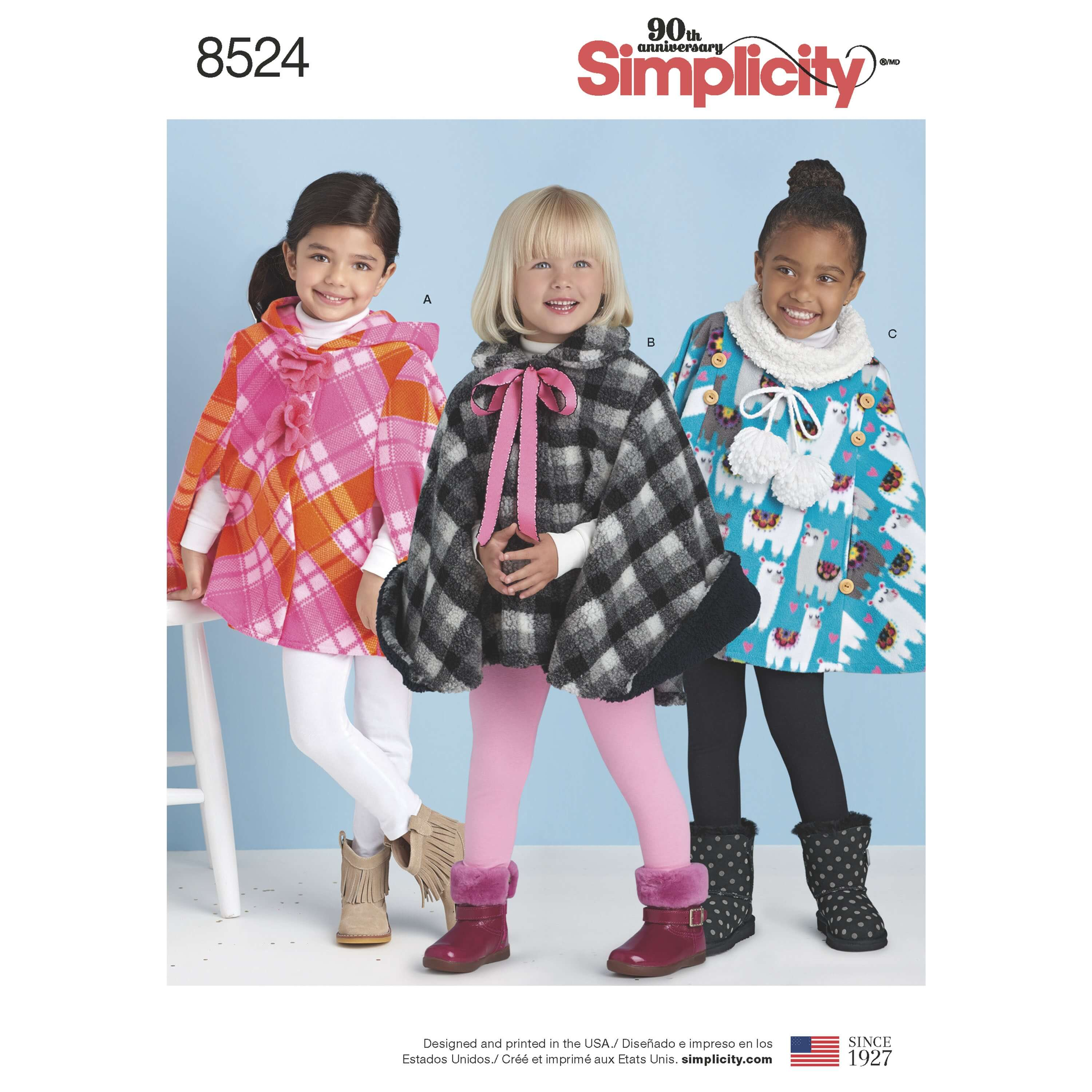 Simplicity Sewing Pattern 8524 Child's Ponchos with Decoration Options