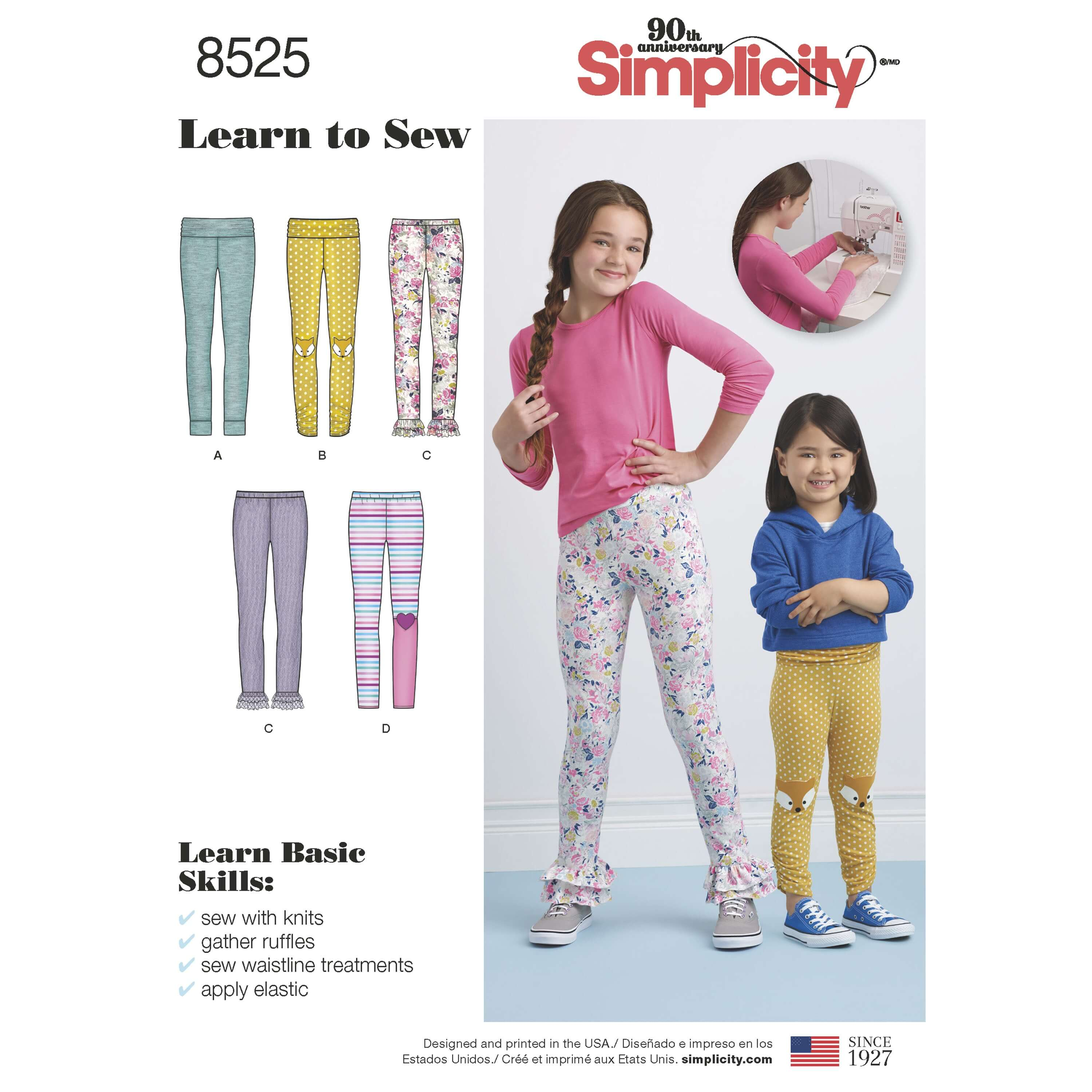 Simplicity Sewing Pattern 8525 Child's and Girls Knit Leggings Learn to Sew