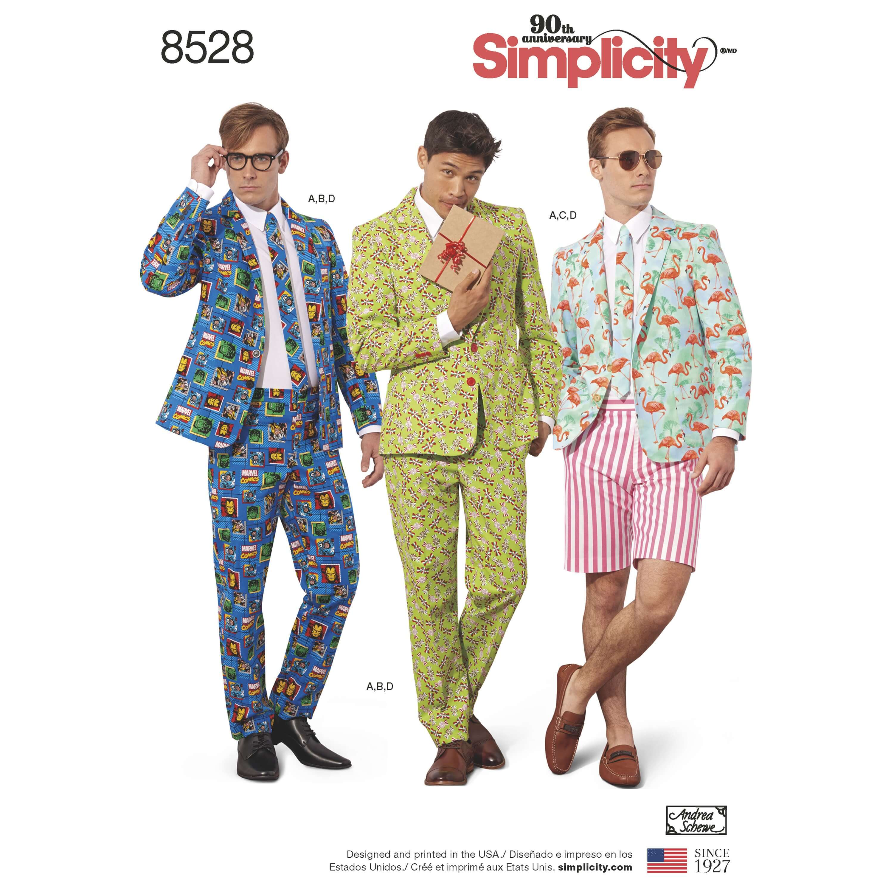 Simplicity Sewing Pattern 8528 Men's Costume Suits Jacket Trousers Shorts