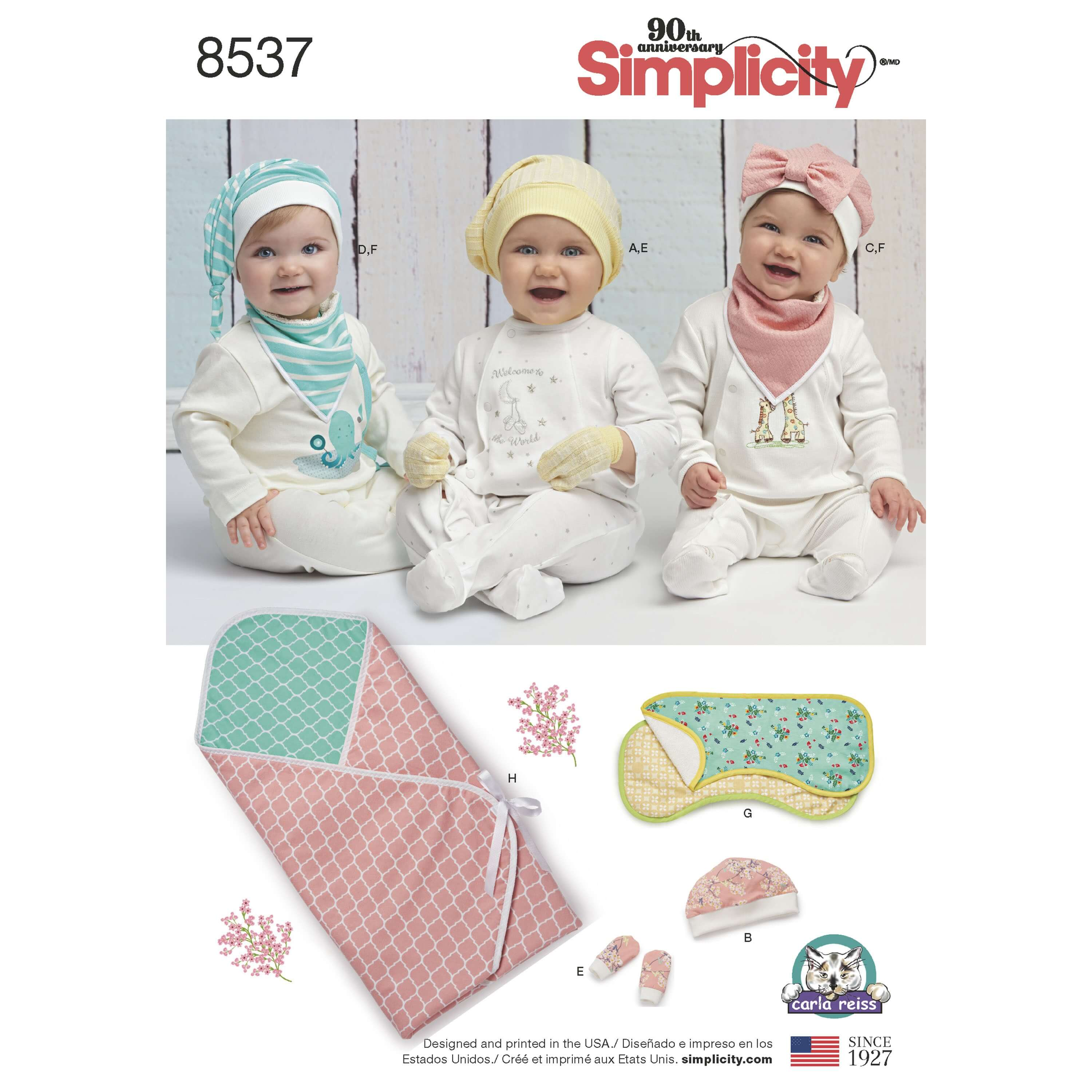 Simplicity Sewing Pattern 8537 Baby Accessories for Cold Weather Hats Blankets