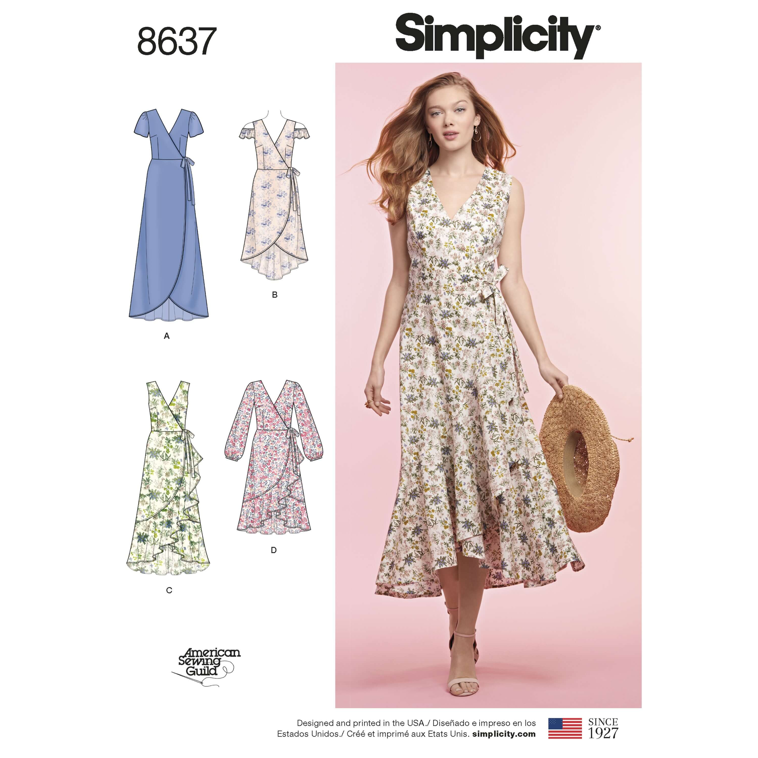 Simplicity Sewing Pattern 8637 Women's Wrap Dress Casual Vacation