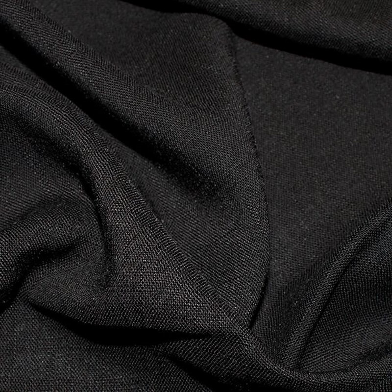 100% Viscose Linen Look Fabric Lightweight Breathable Soft Material Black