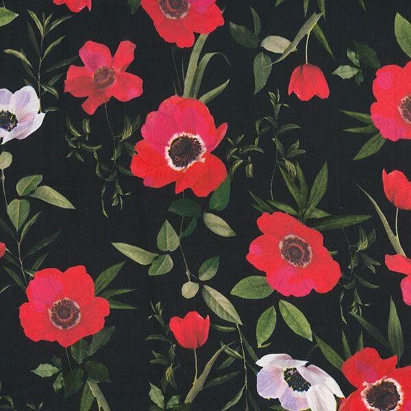 Polyester Silky Satin Fabric Blooming Poppies Poppy Floral Flowers 145cm Wide