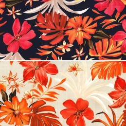 Polyester Silky Satin Fabric Autumn Leaves & Abstract Floral Flower 145cm Wide