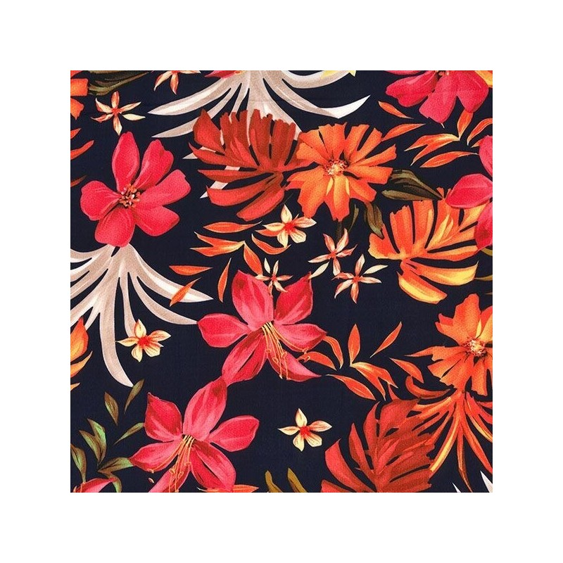 Navy Silky Satin Fabric Autumn Leaves & Abstract Floral Flower 145cm Wide