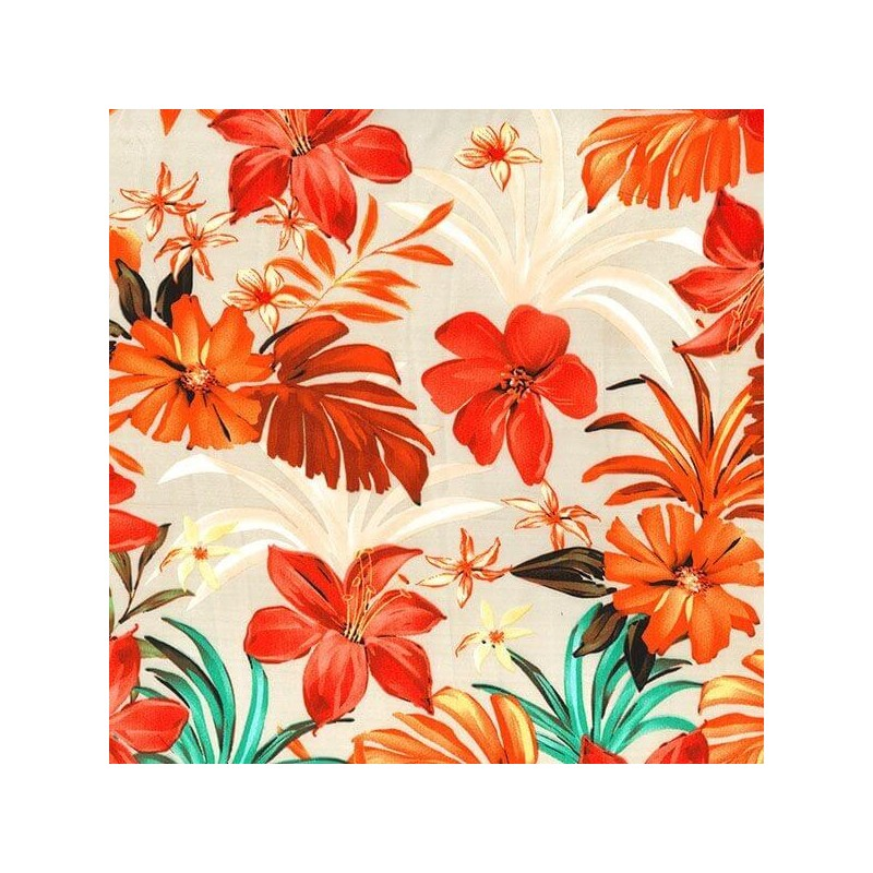 Beige Silky Satin Fabric Autumn Leaves & Abstract Floral Flower 145cm Wide