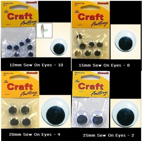 25mm Sew On Toy Eyes Wobbly Goo Goo Teddy 12mm,15mm,20mm,25mm