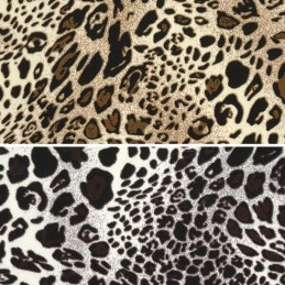 Polyester Silky Satin Fabric Shiny Leopard Animal Print 145cm Wide
