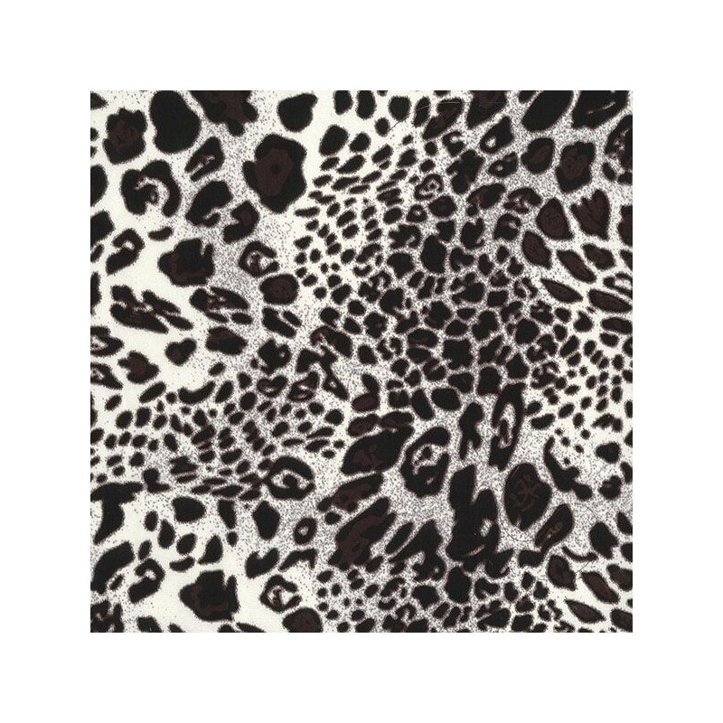 Silver Silky Satin Fabric Shiny Leopard Animal Print 145cm Wide