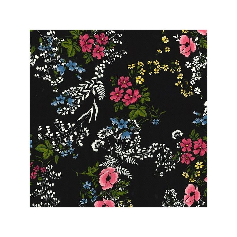 Black Double Georgette Polyester Fabric British Countryside Floral Flowers