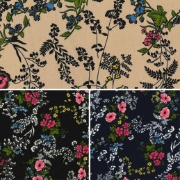 Double Georgette Polyester Fabric British Countryside Floral Flowers