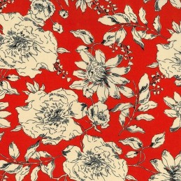 Terracotta Double Georgette Polyester Fabric Blooming Tangled Floral Flowers