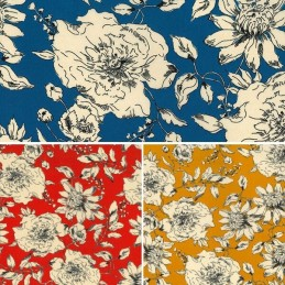 Double Georgette Polyester Fabric Blooming Tangled Floral Flowers