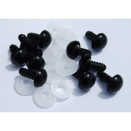2 x Safety Black Toy Eyes 6mm,9mm,12mm,15mm,18mm